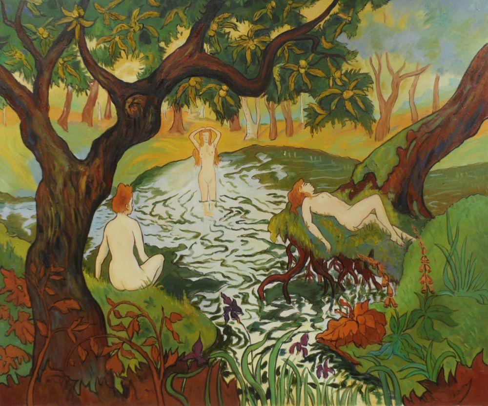 Three Bathers among the Irises
