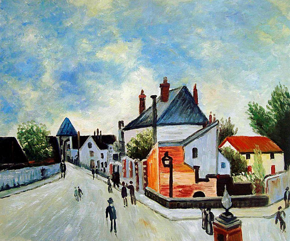 Street in Moret (Porte de Bourgogne from across the Br