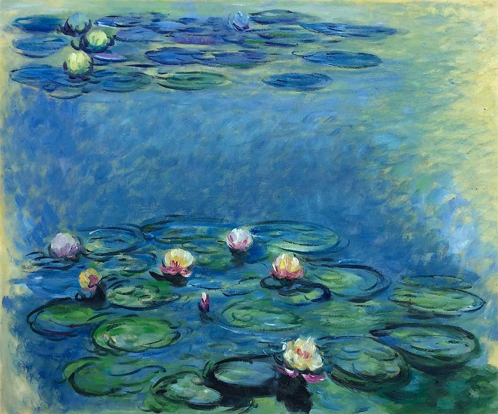 Water Lilies (Blue/Grey)