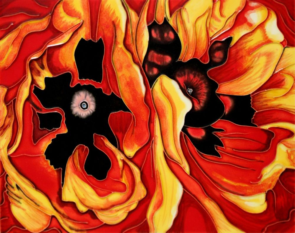 Oriental Poppies Wall Accent Tile