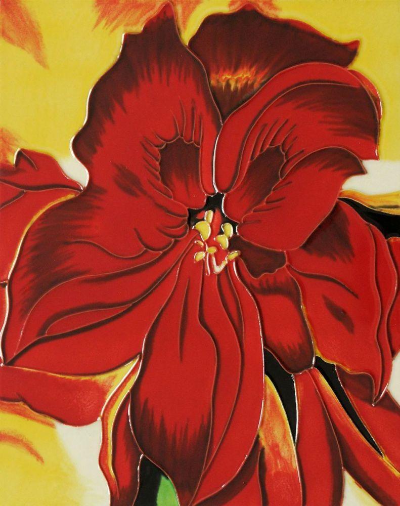 Red Amaryllis 1937(artist interpretation) Trivet/Wall Accent Tile