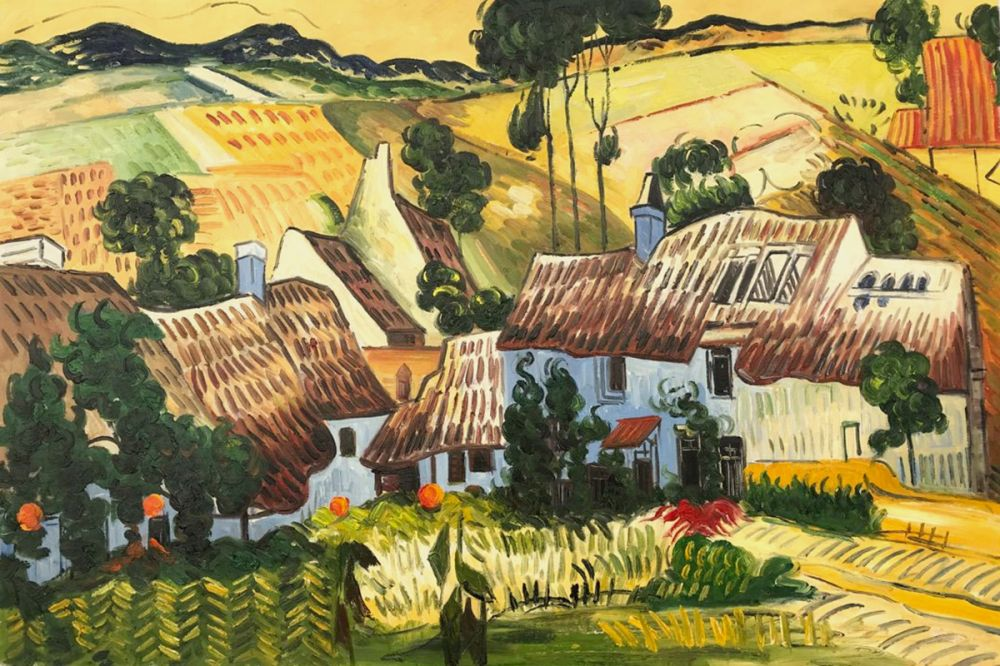 Thatched Houses against a Hill