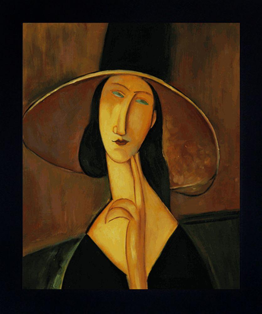 Portrait of Woman in Hat Pre-Framed