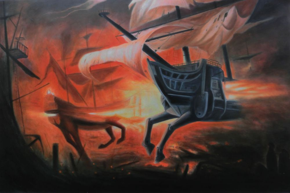 Spanish Galions on Fire