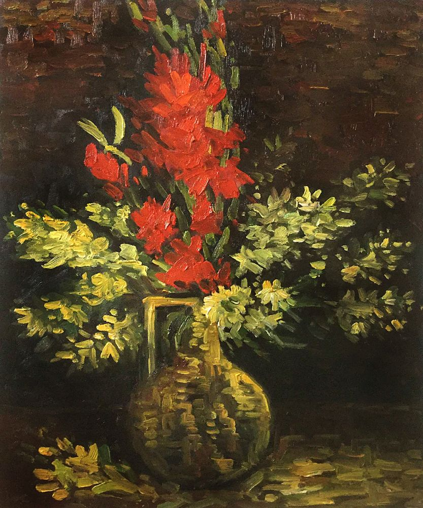 Vase with Gladioli and Carnations