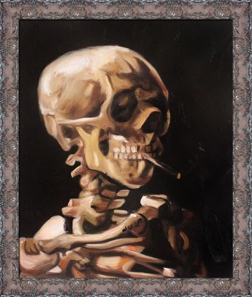 Skull of a Skeleton with Burning Cigarette Pre-Framed