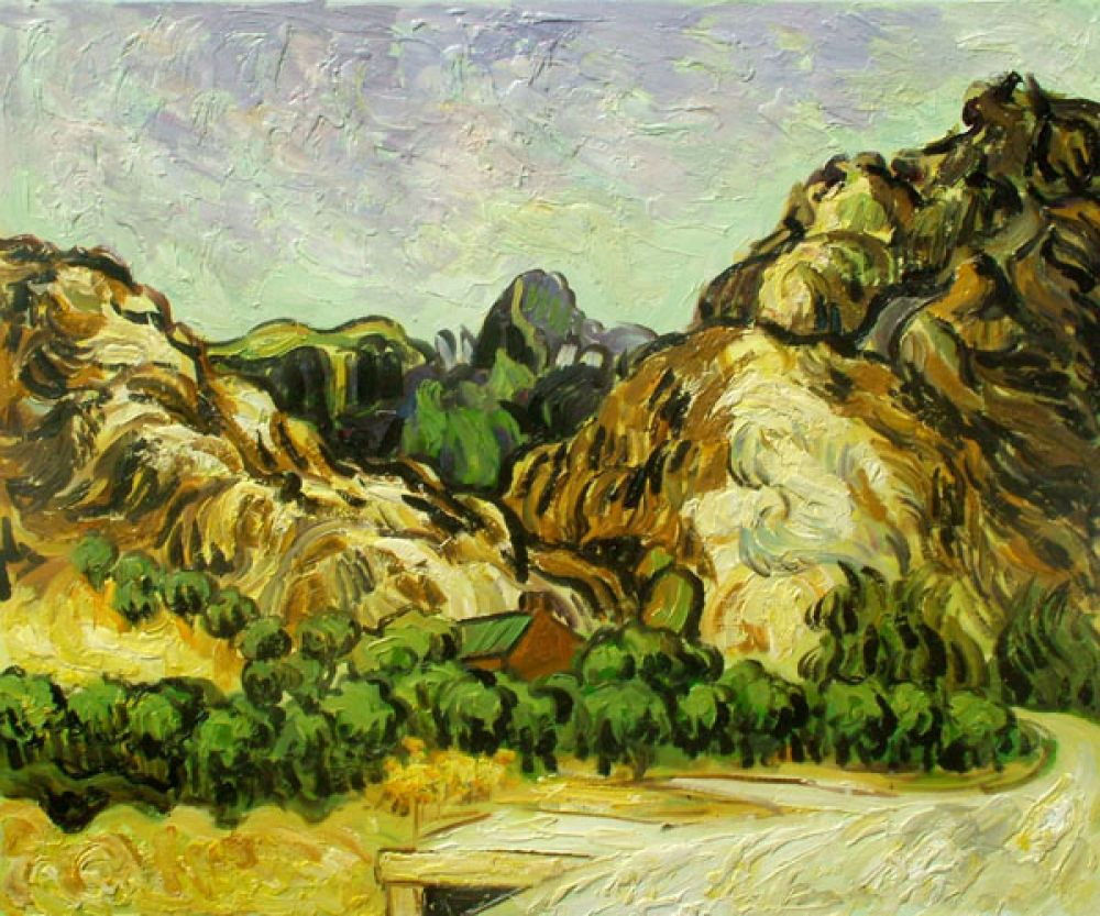 Mountains at St. Remy with Dark Cottage