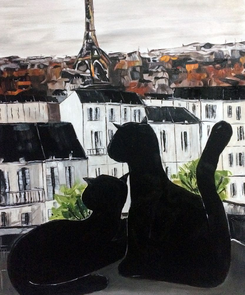 Black Cat with His Pretty on Paris Roofs III