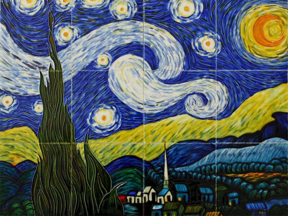 Starry Night Mural Wall Tiles