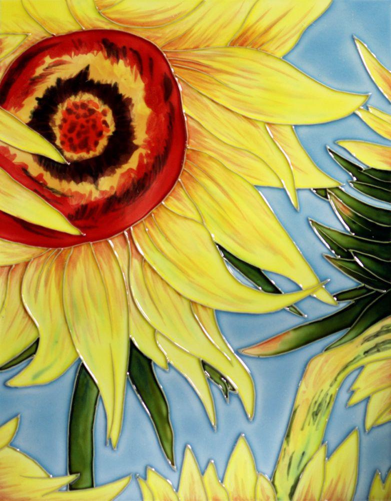 Sunflowers (detail) Trivet/Wall Accent Tile (felt back)