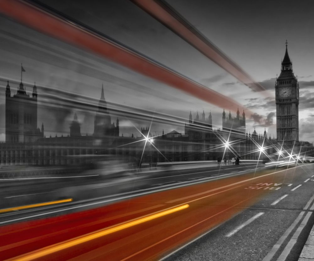 London, Westminster Bridge and Red Bus