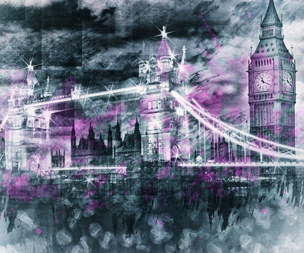 Modern Art, London Tower Bridge and Big Ben