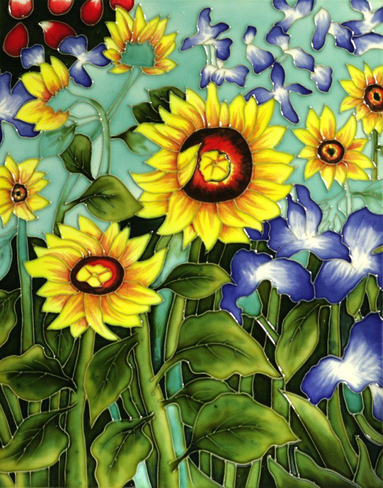 Sunflowers and Irises (artist interpretation) Trivet/Wall Accent Tile (felt back)