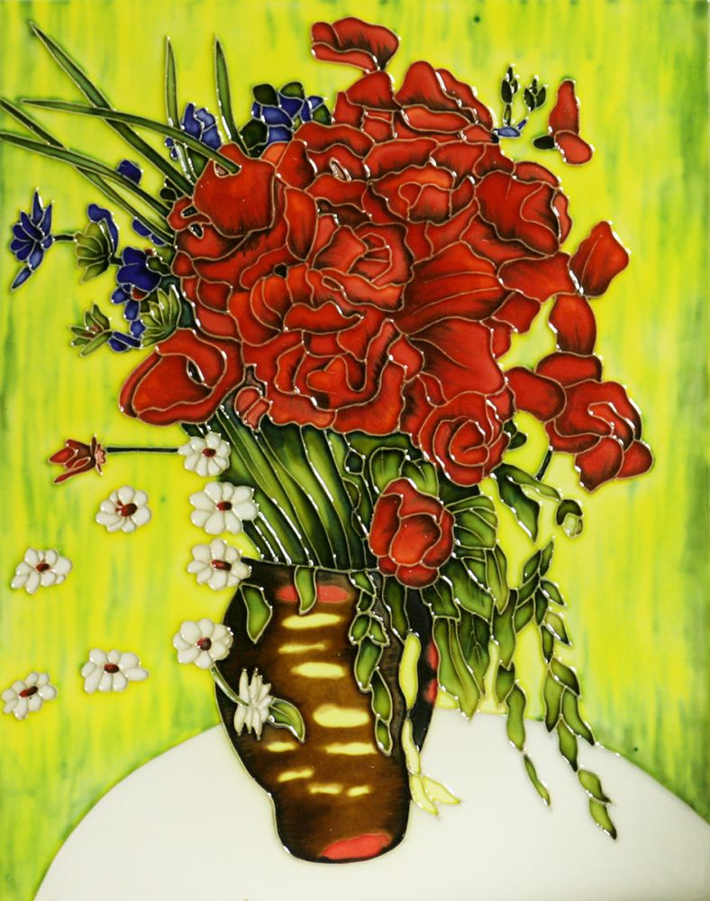 Vase with Daisies and Poppies Trivet/Wall Accent Tile (felt back)
