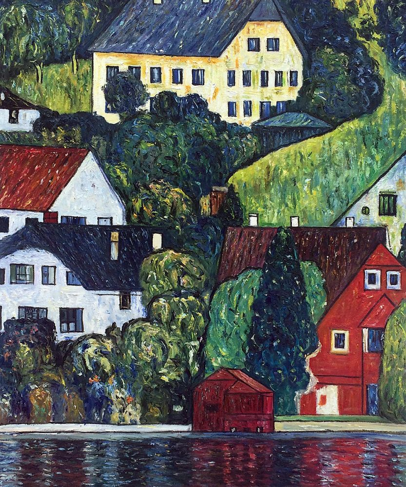 Klimt houses at unterach on the attersee reproduction for Reproduction homes