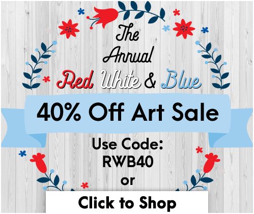 Save 40% on All Artwork for the Annual Red, White, and Blue Sale!