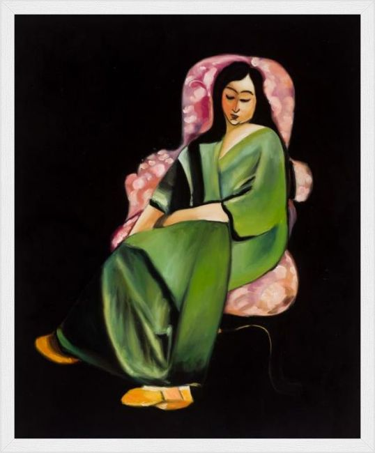 overstockArt Matisse Lorette in a Green Robe Against a Black Background with Elegant Wood Frame
