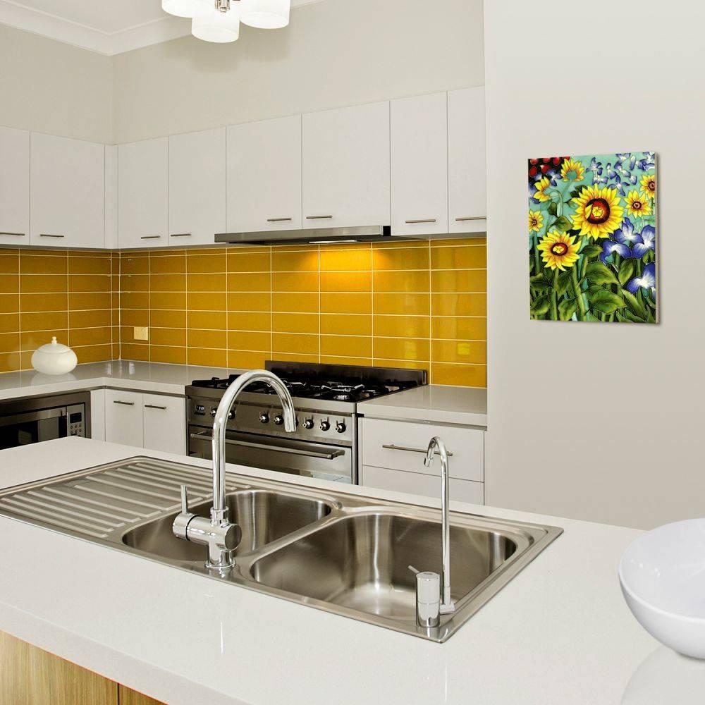 Sunflowers and Irises (artist interpretation) Accent Tile (felt back)