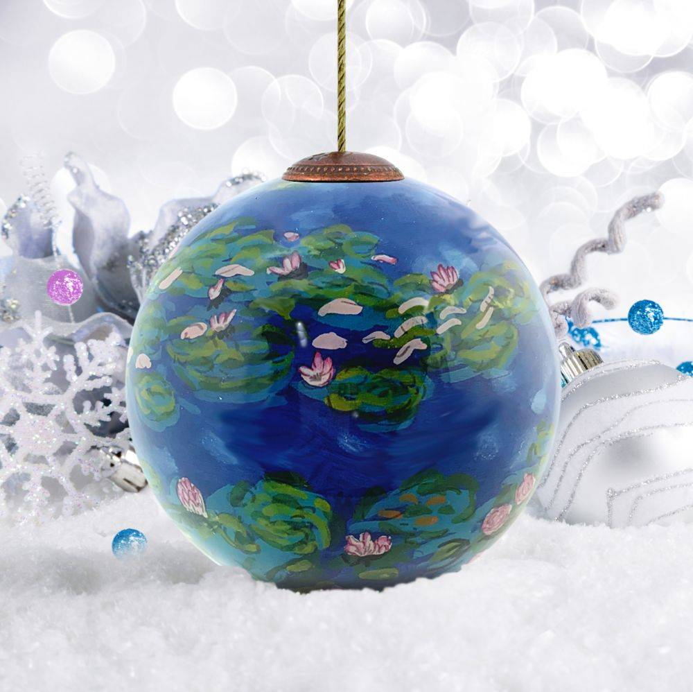 Water Lilies Hand Painted Glass Ornament