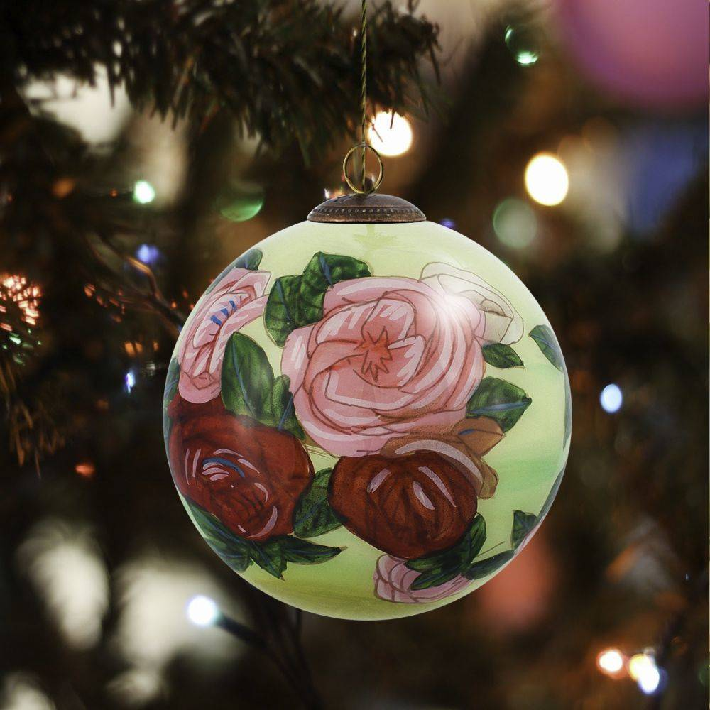 Discarded Roses Hand Painted Glass Ornament