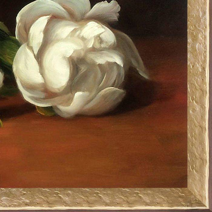 Branch Of White Peonies With Pruning Shears Pre-Framed
