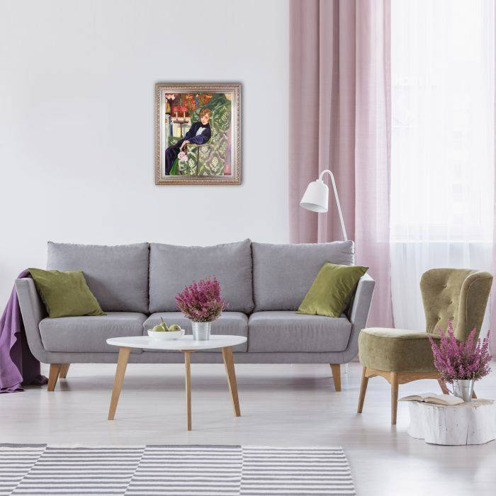 Yvonne Printemps in an Armchair with Elegant Champagne Frame