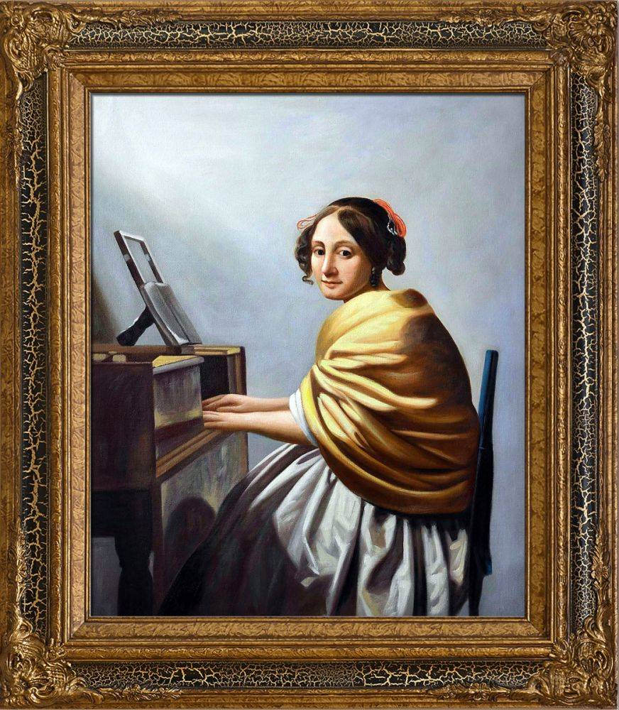 Young Woman Seated at the Verginals Pre-Framed