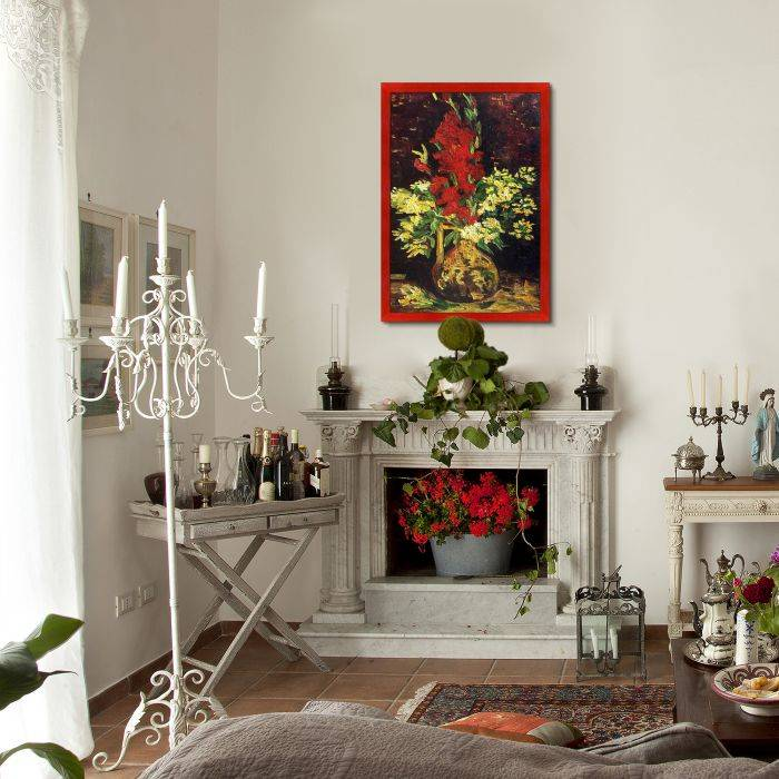 Vase with Gladioli and Carnations Pre-Framed