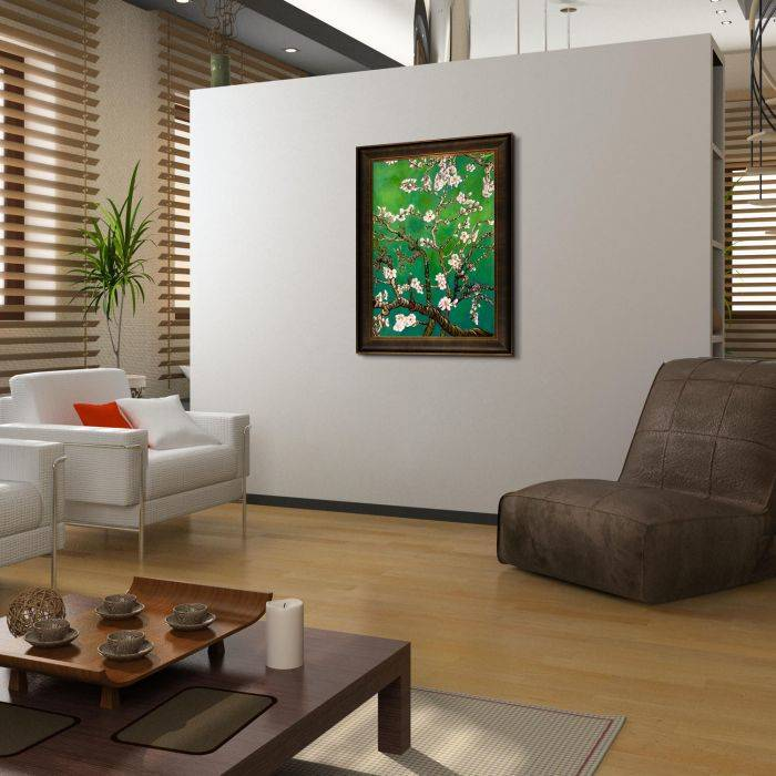 Branches of an Almond Tree in Blossom, Emerald Green Pre-Framed