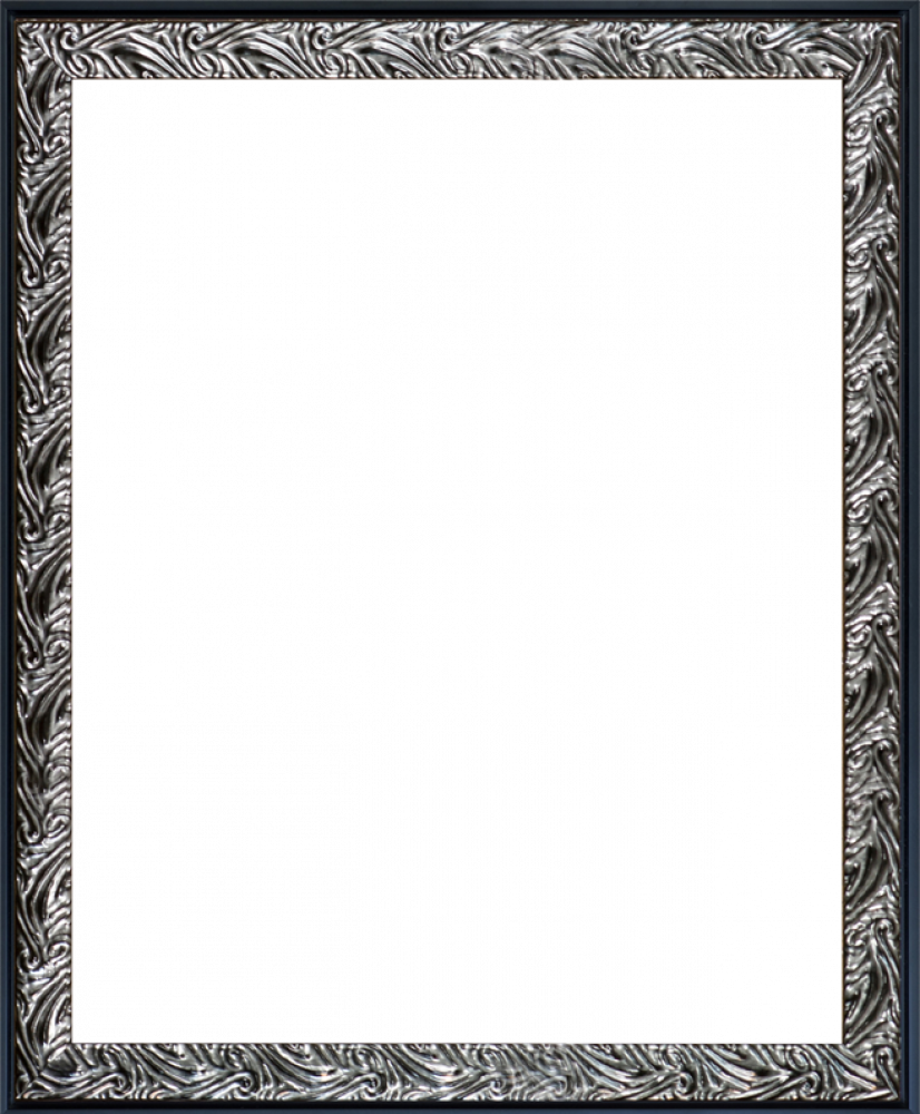 Ornate Silver and Black Custom Stacked Frame 16