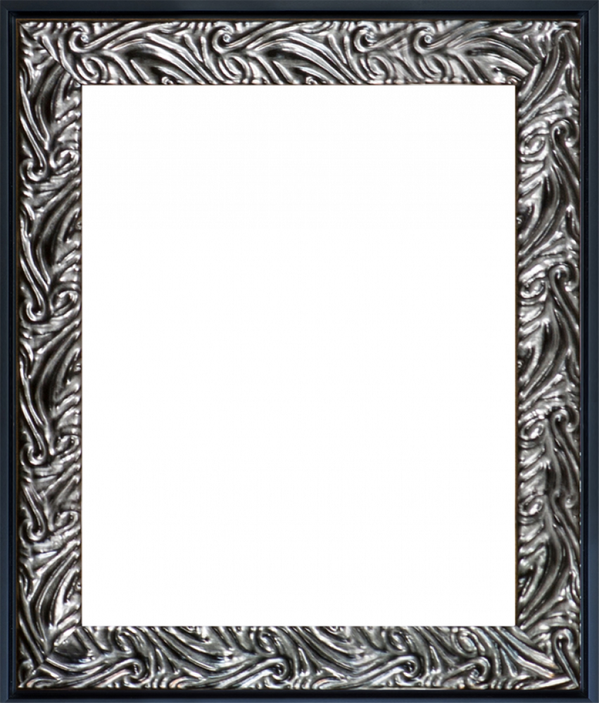 Ornate Silver and Black Custom Stacked Frame 8