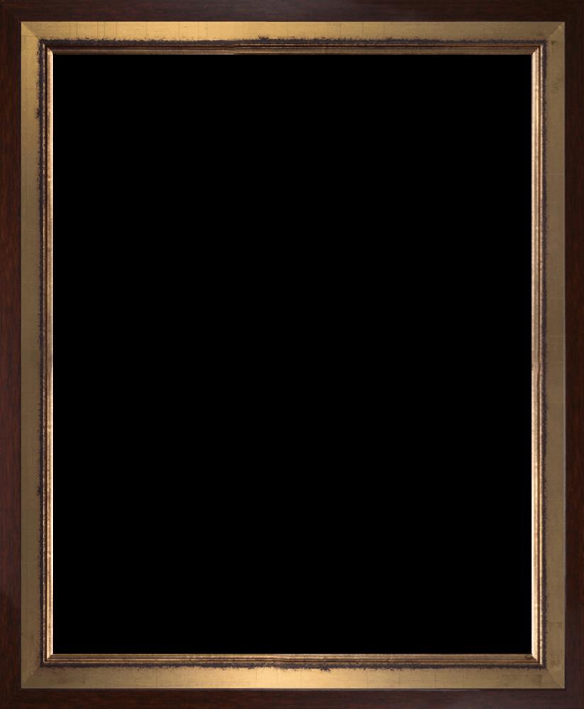 Burnished Gold and Studio Walnut Wood Custom Stacked Frame 16