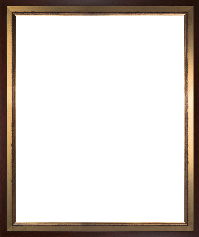 Burnished Gold and Studio Walnut Wood Custom Stacked Frame 20