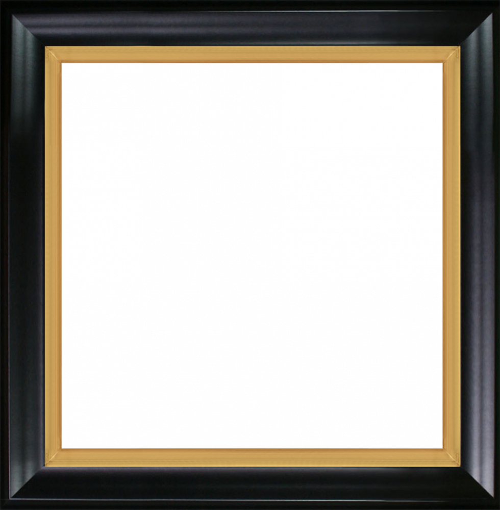 Black Satin King and Burnished Gold Custom Stacked Frame 24