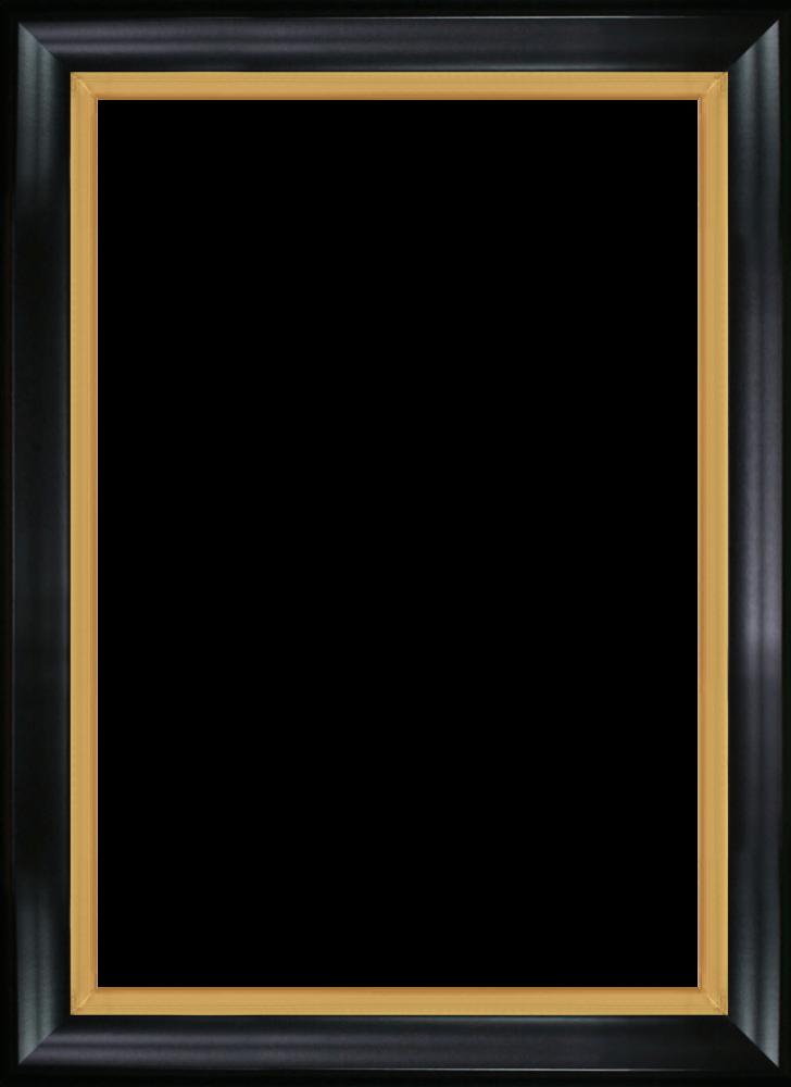 Black Satin King and Burnished Gold Custom Stacked Frame 24