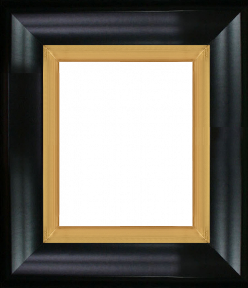 Black Satin King and Burnished Gold Custom Stacked Frame 8