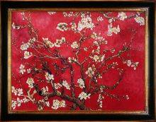 Branches of an Almond Tree in Blossom, Ruby Red Pre-Framed