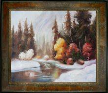 Winter Landscape Reproduction Pre-Framed