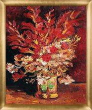 Vase with Gladioli and Carnations (red) Pre-Framed