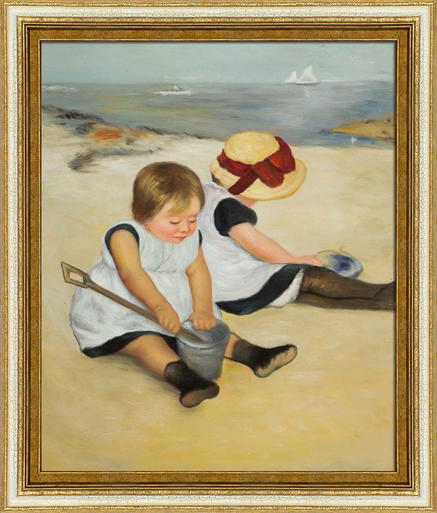 Children Playing on the Beach Pre-Framed