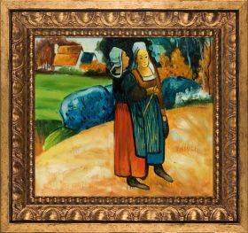 Two Breton Women on the Road Pre-Framed