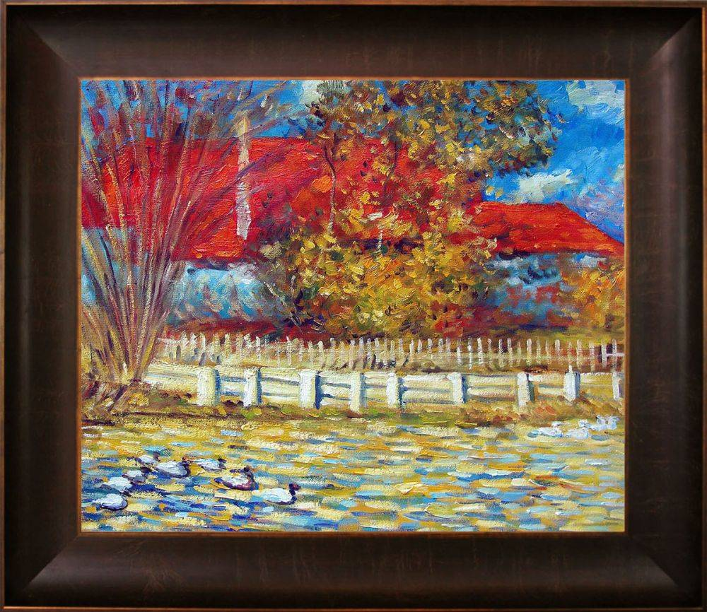 The Pond with Ducks in Autumn Pre-Framed