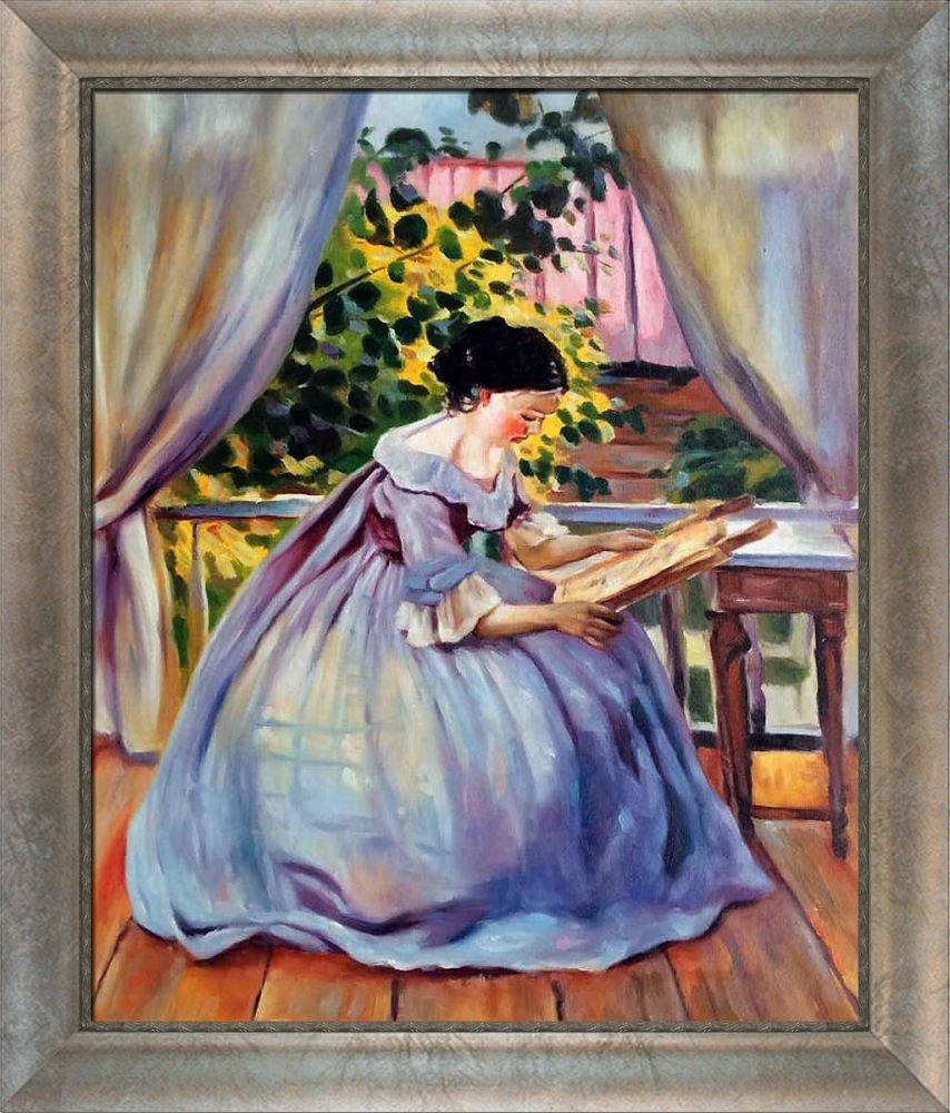 Lady Embroidering Pre-Framed