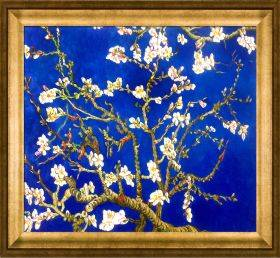 Branches of an Almond Tree in Blossom, Sapphire Blue Pre-Framed