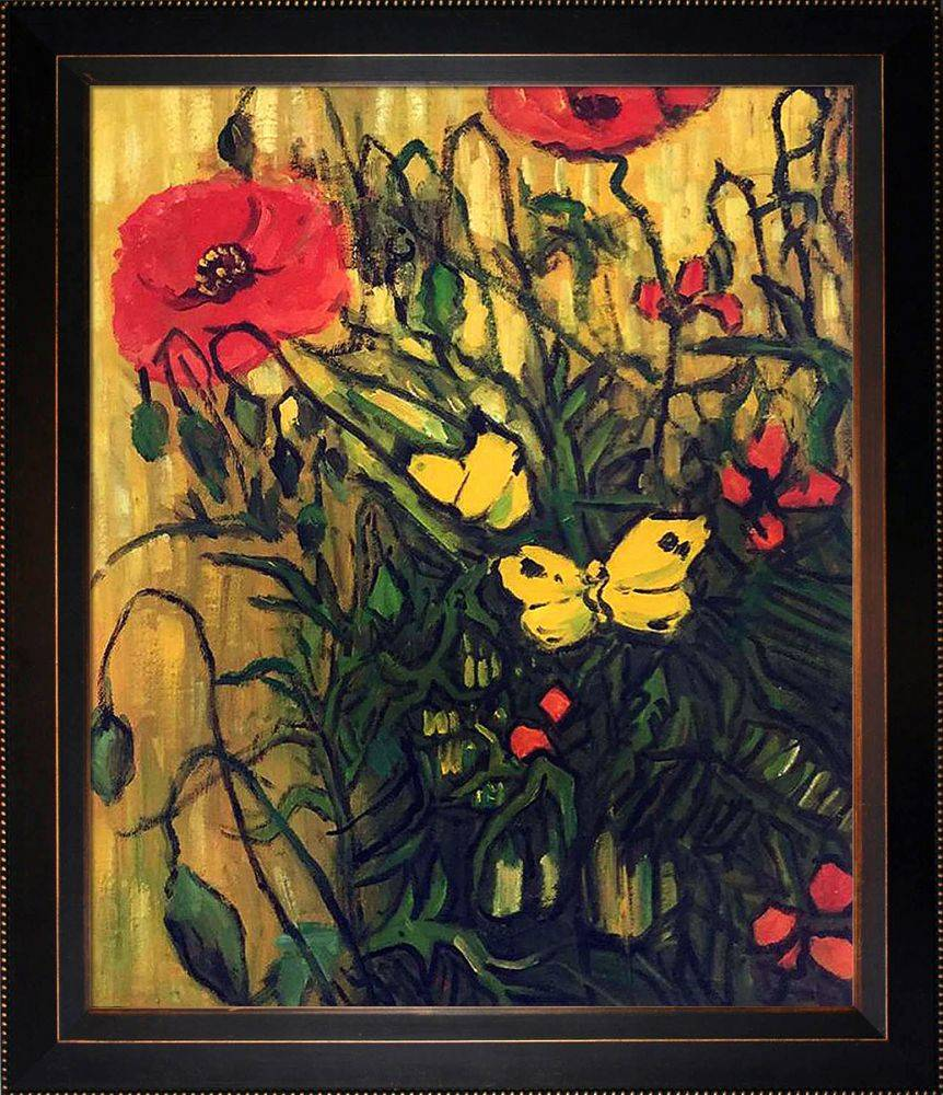 Poppies and Butterflies Pre-Framed