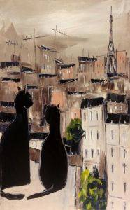 Black cat and his pretty on Paris roofs