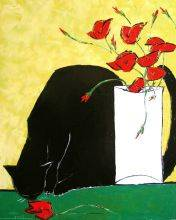 Black cat and his poppies