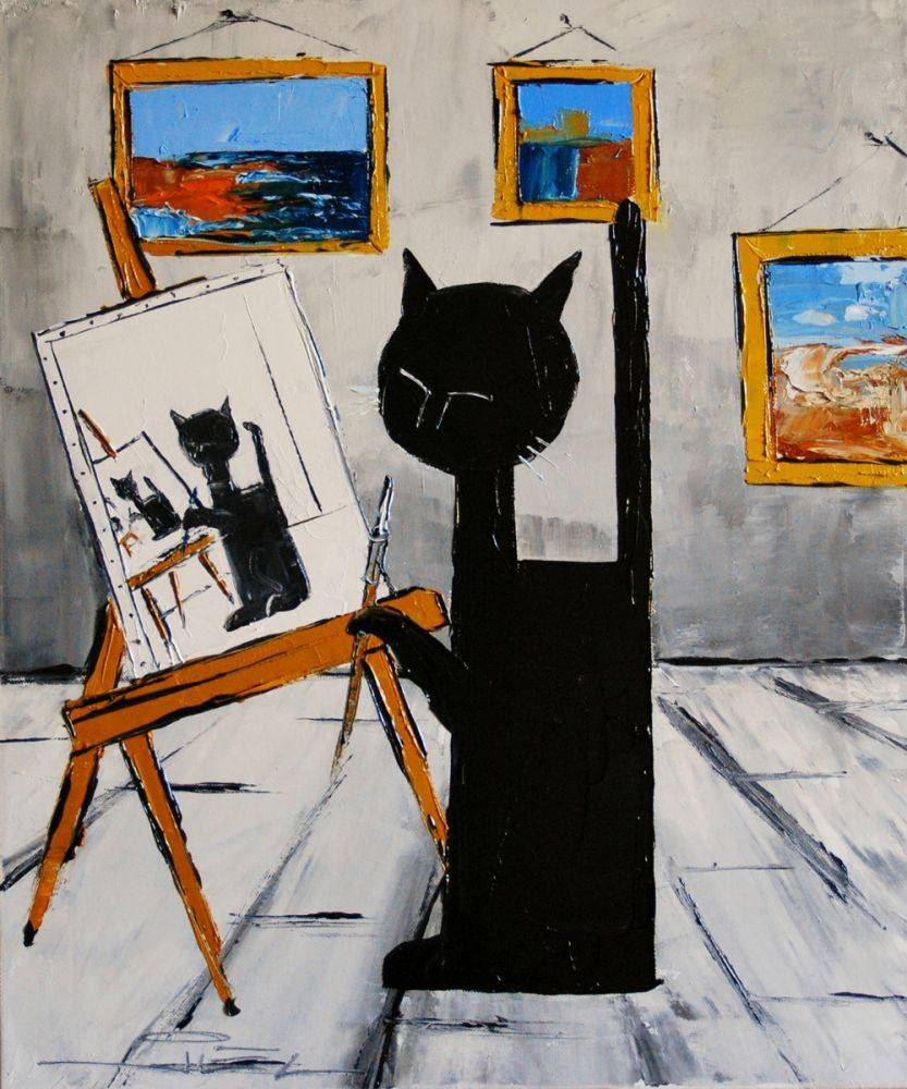 Black cat is painting