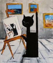 Black cat is painting