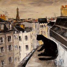 Black cat on roofs of Paris